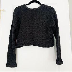 Sparkle & Fade Cropped Cable Knit Sweater